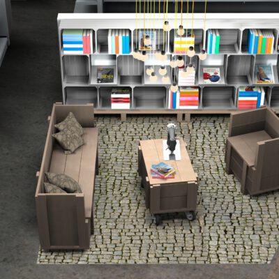 Ansicht Sitz Lounge aus Gerüstdielen